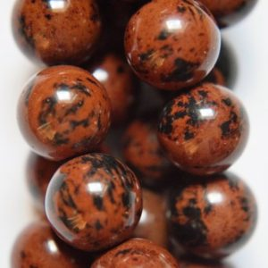 "Shop Obsidian Beads! Genuine Mahogany Obsidian Beads – Round 12 mm Gemstone Beads – Full Strand 15 1/2"", 33 beads, A Quality 