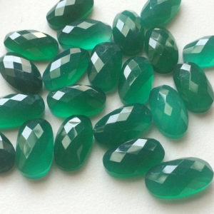 Shop Onyx Cabochons! 10 Pcs Green Onyx Rose Cut Cabochons, Faceted Oval Flat Back Green Onyx Cabochons, Calibrated 12x20mm – GRS263 | Natural genuine gemstones & crystals in various shapes & sizes. Buy raw cut, tumbled, or polished for making jewelry or crystal healing energy reiki stones. #crystals #gemstones #crystalhealing #crystalsandgemstones #energyhealing #affiliate