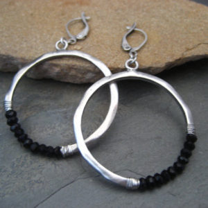 Black onyx hoops, silver hoops, crescent dangle, beaded circle, half moon, circle dangle, black onyx dangle, black earrings, gemstone hoops | Natural genuine Array jewelry. Buy crystal jewelry, handmade handcrafted artisan jewelry for women.  Unique handmade gift ideas. #jewelry #beadedjewelry #beadedjewelry #gift #shopping #handmadejewelry #fashion #style #product #jewelry #affiliate #ad