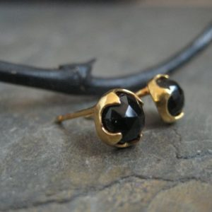 Black onyx studs, rose cut studs, black earrings, onyx cabochon earrings, black onyx posts, gold studs, round studs, 7 mm | Natural genuine Array jewelry. Buy crystal jewelry, handmade handcrafted artisan jewelry for women.  Unique handmade gift ideas. #jewelry #beadedjewelry #beadedjewelry #gift #shopping #handmadejewelry #fashion #style #product #jewelry #affiliate #ad