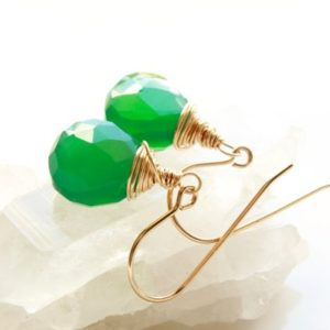 Shop Onyx Earrings! Green Onyx Gold Filled Earrings wire wrapped natural gemstone everyday simple minimalist artisan dangle drops holiday gift for her 4813 | Natural genuine Onyx earrings. Buy crystal jewelry, handmade handcrafted artisan jewelry for women.  Unique handmade gift ideas. #jewelry #beadedearrings #beadedjewelry #gift #shopping #handmadejewelry #fashion #style #product #earrings #affiliate #ad