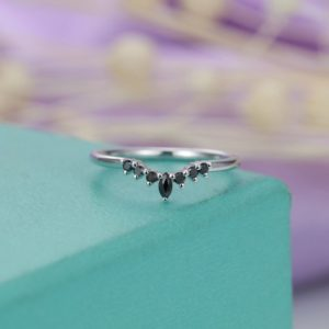 Shop Onyx Rings! Black onyx Black diamond curved wedding band Women Marquise cut Unique Delicate Jewelry Bridal Matching Anniversary Birthday gift for her | Natural genuine Onyx rings, simple unique alternative gemstone engagement rings. #rings #jewelry #bridal #wedding #jewelryaccessories #engagementrings #weddingideas #affiliate #ad