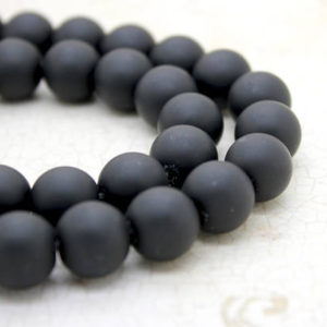 Natural Matte Black Onyx Round Sphere Ball Loose Gemstone Beads (4mm 6mm 8mm 10mm 12mm 14mm) | Natural genuine round Gemstone beads for beading and jewelry making.  #jewelry #beads #beadedjewelry #diyjewelry #jewelrymaking #beadstore #beading #affiliate #ad