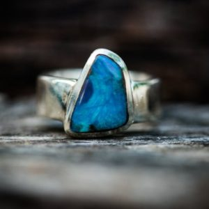 Shop Opal Rings! Boulder Opal Ring Size 8 – Natural Opal Ring – Opal & Sterling Silver Ring – Ring size 8 – October Birthstone Ring – Boulder Opal -Opal Ring | Natural genuine Opal rings, simple unique handcrafted gemstone rings. #rings #jewelry #shopping #gift #handmade #fashion #style #affiliate #ad