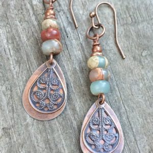 Shop Opal Jewelry! Copper Dangle Earrings, Stone Earrings Dangle, Copper Jewelry Earrings, Natural Stone Earrings, Opal Stone Jewelry, Earthy Earrings | Natural genuine Opal jewelry. Buy crystal jewelry, handmade handcrafted artisan jewelry for women.  Unique handmade gift ideas. #jewelry #beadedjewelry #beadedjewelry #gift #shopping #handmadejewelry #fashion #style #product #jewelry #affiliate #ad