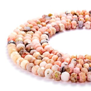 "Shop Opal Faceted Beads! Natural Pink Opal Faceted Rondelle Loose Beads Size 5x8mm/6x10mm 15.5"" Long Per Strand;GEM-JS073018005 