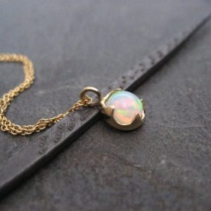 Genuine opal necklace, Ethiopian welo pendant, October birthstone jewelry, multi color gemstone, 14k gold necklace | Natural genuine Opal pendants. Buy crystal jewelry, handmade handcrafted artisan jewelry for women.  Unique handmade gift ideas. #jewelry #beadedpendants #beadedjewelry #gift #shopping #handmadejewelry #fashion #style #product #pendants #affiliate #ad