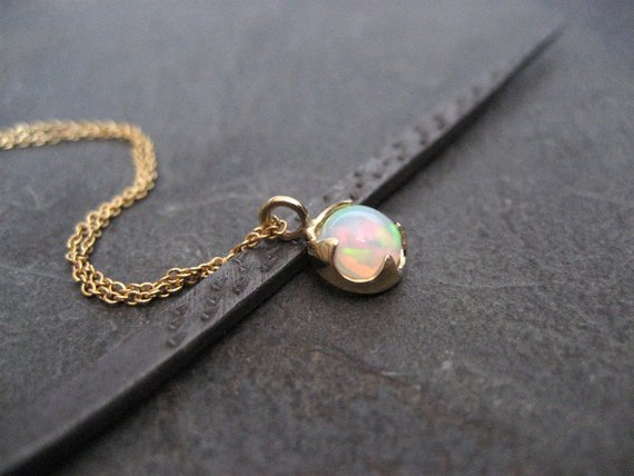 Genuine Opal Necklace, Ethiopian Welo Pendant, October Birthstone Jewelry, Multi Color Gemstone, 14k Gold Necklace