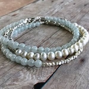 Shop Pearl Bracelets! Modern Pearl Bracelet / Hill Tribe Silver Bead Jewelry / Genuine Freshwater Pearl Jewelry / Minimalist Delicate Bracelet | Natural genuine Pearl bracelets. Buy crystal jewelry, handmade handcrafted artisan jewelry for women.  Unique handmade gift ideas. #jewelry #beadedbracelets #beadedjewelry #gift #shopping #handmadejewelry #fashion #style #product #bracelets #affiliate #ad