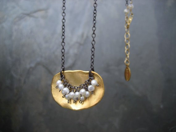 Pearl Pendant, Mixed Metal, Freshwater Pearl, Gold And Black, Oblong Pendant, Pearl Cluster, Mixed Metal, Black Oxidized, Gold Pendant