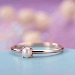 Shop Pearl Jewelry! Pearl Engagement Ring Rose Gold Simple Minimalist Engagement Ring Dainty Delicate Akoya Solid 14k Bridal Set Jewelry Promise Anniversary | Natural genuine Pearl jewelry. Buy handcrafted artisan wedding jewelry.  Unique handmade bridal jewelry gift ideas. #jewelry #beadedjewelry #gift #crystaljewelry #shopping #handmadejewelry #wedding #bridal #jewelry #affiliate #ad