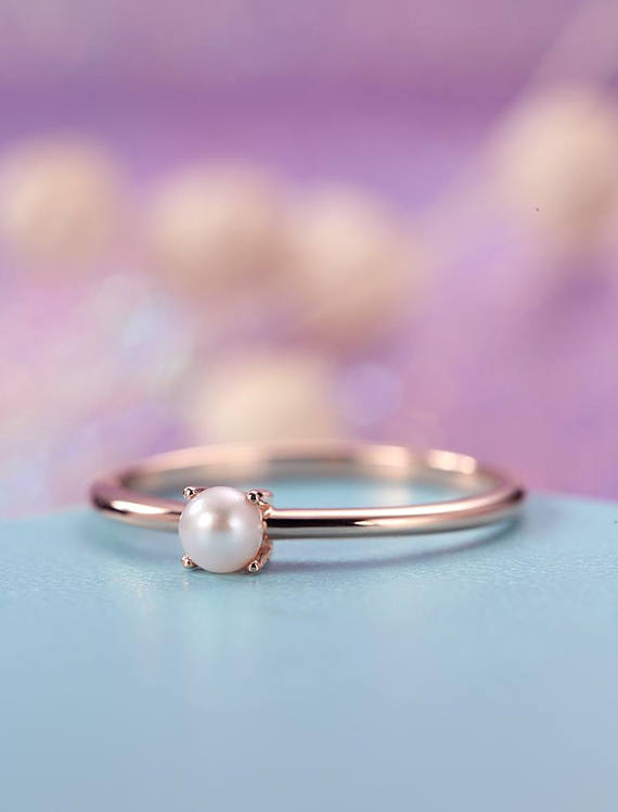 Pearl Engagement Ring Rose Gold Simple Minimalist Engagement Ring Dainty Delicate Akoya Solid Gold Ring Art Deco Promise Anniversary Ring