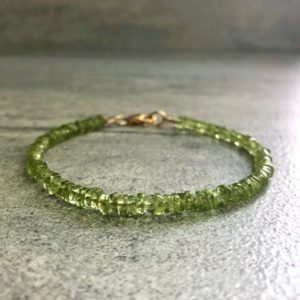Green Peridot Bracelet | 14 K Gold Filled Jewelry | Natural Gemstone Jewelry | Women's Or Men's Small Bead Gold Bracelet | Natural genuine Peridot bracelets. Buy crystal jewelry, handmade handcrafted artisan jewelry for women.  Unique handmade gift ideas. #jewelry #beadedbracelets #beadedjewelry #gift #shopping #handmadejewelry #fashion #style #product #bracelets #affiliate #ad