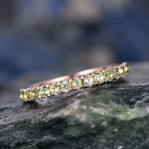 Shop Peridot Rings! Natural Peridot wedding ring-Solid 14k rose gold-handmade Fine ring-Full eternity band-2mm Matching band-birthstone promise ring | Natural genuine Peridot rings, simple unique alternative gemstone engagement rings. #rings #jewelry #bridal #wedding #jewelryaccessories #engagementrings #weddingideas #affiliate #ad