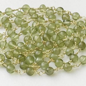 Shop Peridot Round Beads! 4.5mm Peridot Plain Round Ball Beads Connector Chains in 925 Silver Gold Polished Wire Wrapped Rosary Style Chain (1Foot To 5Feet Options) | Natural genuine round Peridot beads for beading and jewelry making.  #jewelry #beads #beadedjewelry #diyjewelry #jewelrymaking #beadstore #beading #affiliate #ad