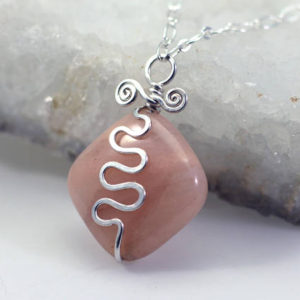 Pink Calcite Pendant Necklace: Hammered Hand-Forged Silver-Filled Rustic Wire Squiggle, Peach Gemstone, Adjustable Chain, OOAK DoodlepunkArt | Natural genuine Calcite pendants. Buy crystal jewelry, handmade handcrafted artisan jewelry for women.  Unique handmade gift ideas. #jewelry #beadedpendants #beadedjewelry #gift #shopping #handmadejewelry #fashion #style #product #pendants #affiliate #ad