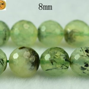 Prehnite,15 inch full strand Grade A green Prehnite faceted(128 faces) round beads 6mm 8mm 10mm for Choice | Natural genuine round Prehnite beads for beading and jewelry making.  #jewelry #beads #beadedjewelry #diyjewelry #jewelrymaking #beadstore #beading #affiliate #ad