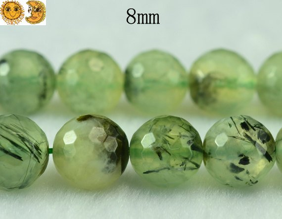 Prehnite,15 Inch Full Strand Grade A Green Prehnite Faceted(128 Faces) Round Beads 6mm 8mm 10mm For Choice