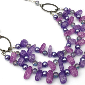 Purple Ice Crackle Beads Triple Strand Necklace Project