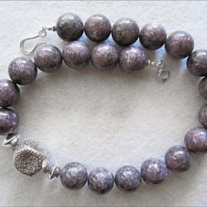Shop Lepidolite Necklaces! Purple Lepidolite Necklace with Unique Sterling Silver Focal Bead | Natural genuine Lepidolite necklaces. Buy crystal jewelry, handmade handcrafted artisan jewelry for women.  Unique handmade gift ideas. #jewelry #beadednecklaces #beadedjewelry #gift #shopping #handmadejewelry #fashion #style #product #necklaces #affiliate #ad