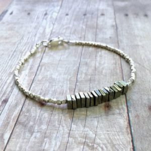 Natural Pyrite Bracelet | Semi Precious Gemstone Jewelry | Hill Tribe Silver Bead Bracelet | Minimalist Pyrite Jewelry Sterling Silver Clasp | Natural genuine Pyrite bracelets. Buy crystal jewelry, handmade handcrafted artisan jewelry for women.  Unique handmade gift ideas. #jewelry #beadedbracelets #beadedjewelry #gift #shopping #handmadejewelry #fashion #style #product #bracelets #affiliate #ad