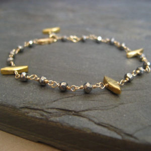 Spike Pyrite Bracelet – Goldfilled And Vermeil | Natural genuine Pyrite bracelets. Buy crystal jewelry, handmade handcrafted artisan jewelry for women.  Unique handmade gift ideas. #jewelry #beadedbracelets #beadedjewelry #gift #shopping #handmadejewelry #fashion #style #product #bracelets #affiliate #ad