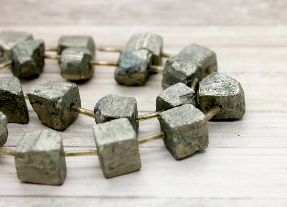 Pyrite, Pryite Rough Nuggets Cube Natural Loose Gemstone Beads