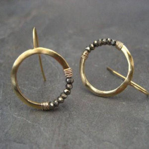 Pyrite Hoops, Gold Hoops, Faceted Pyrite, Crescent Earrings, Pyrite Earrings, Moon Earrings, Beaded Hoops, Sparkly Hoops, Circle Earrings | Natural genuine Array jewelry. Buy crystal jewelry, handmade handcrafted artisan jewelry for women.  Unique handmade gift ideas. #jewelry #beadedjewelry #beadedjewelry #crystaljewelry #gemstonejewelry #handmadejewelry #jewelry #affiliate