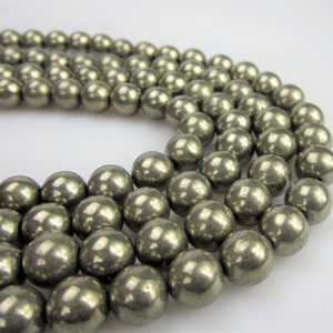 "Shop Pyrite Round Beads! Pyrite Smooth Round Well Polish Gemstone Loose Beads Size 2/4/6/8/10/12mm 15.5"" Long per Strand. R-S-PYR-0330 