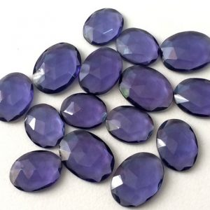 Shop Quartz Crystal Cabochons! 5 Pcs Iolite Color Hydro Quartz, Rose Cut Hydro, Flat Back Cabochons, Loose Rose Cut Gemstones, 13-14mm – KS41 | Natural genuine gemstones & crystals in various shapes & sizes. Buy raw cut, tumbled, or polished for making jewelry or crystal healing energy reiki stones. #crystals #gemstones #crystalhealing #crystalsandgemstones #energyhealing #affiliate
