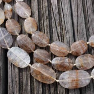 Shop Quartz Crystal Bead Shapes! Cacoxenite Quartz  oval flat beads 11.5-17.5mm (ETB00432) Unique jewelry/Vintage jewelry/Gemstone necklace | Natural genuine other-shape Quartz beads for beading and jewelry making.  #jewelry #beads #beadedjewelry #diyjewelry #jewelrymaking #beadstore #beading #affiliate #ad