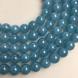 "Shop Quartz Crystal Round Beads! Blue Sponge Quartz Smooth Round Beads 4mm 6mm 8mm 10mm 12mm 15.5"" Strand 