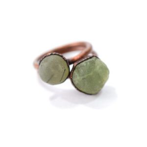 Shop Prehnite Rings! Raw Prehnite ring | Prehnite crystal ring | Prehnite and copper ring | Real Prehnite fashion jewelry | Raw crystal statement ring | Natural genuine Prehnite rings, simple unique handcrafted gemstone rings. #rings #jewelry #shopping #gift #handmade #fashion #style #affiliate #ad