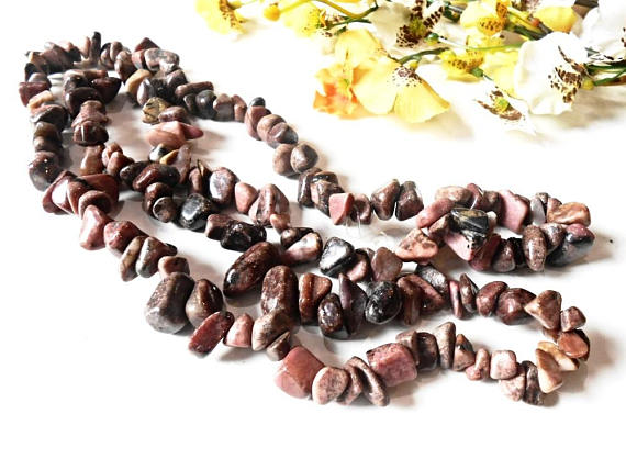 Raw Rhodonite Chips Beads Cut Rough Pink Brown Gemstone Loose Pebble Natural Mineral Gem 8-12 Mm 36 Inch Strand Nugget Tumbled Stone Crystal