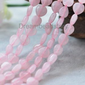 Shop Rose Quartz Bead Shapes! DIY Heart Jewelry Making Supplies, Natural Rose Quartz 8 10 12 14mm Love Heart Shape Beads | Natural genuine other-shape Rose Quartz beads for beading and jewelry making.  #jewelry #beads #beadedjewelry #diyjewelry #jewelrymaking #beadstore #beading #affiliate #ad