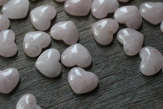 Rose Quartz Small Stone Shaped Heart With Flat Back H5