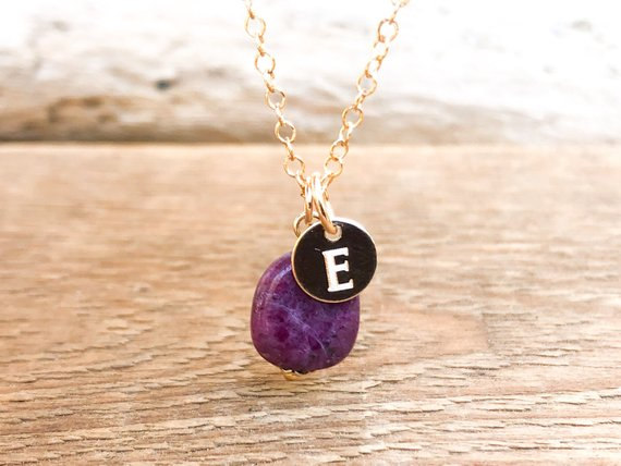 Raw Ruby Pendant Necklace - Raw Stone Necklace - July Birthstone Necklace - July Birthday Gift - July Birthstone Jewelry - Gift For Her
