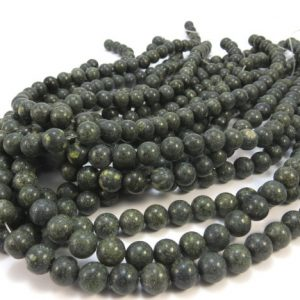 "Russian Serpentine Bead Strand, Green 8mm Round Beads, 15"" inch Strand, Beading Supplies, Jewelry Supplies, Item 621pm 