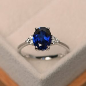 Sapphire engagement ring, blue sapphire engagement ring, oval cut, sterling silver | Natural genuine Array rings, simple unique alternative gemstone engagement rings. #rings #jewelry #bridal #wedding #jewelryaccessories #engagementrings #weddingideas #affiliate #ad