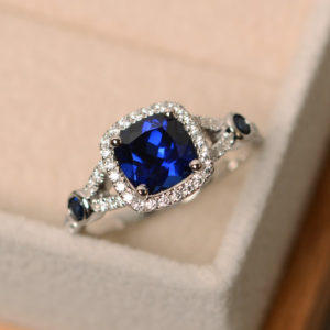 Sapphire engagement ring, cushion cut, blue sapphire ring, blue gemstone ring silver | Natural genuine Array rings, simple unique alternative gemstone engagement rings. #rings #jewelry #bridal #wedding #jewelryaccessories #engagementrings #weddingideas #affiliate #ad