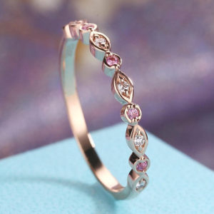 Shop Sapphire Rings! Pink Sapphire Wedding Band Rose Gold Art Deco Antique Diamond Unique Half Eternity Bridal Set Women Matching Stacking Promise gift for her | Natural genuine Sapphire rings, simple unique alternative gemstone engagement rings. #rings #jewelry #bridal #wedding #jewelryaccessories #engagementrings #weddingideas #affiliate #ad