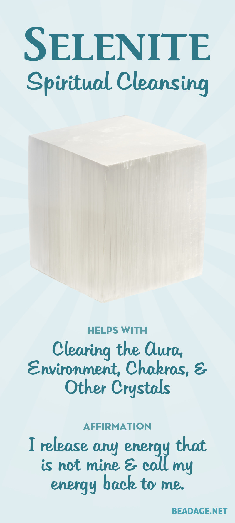 Selenite is best known for being a clearing & purification crystal. It can be used to clear the aura from negativity or stuck energy, and to clear crystals by placing them on top of a flat piece of selenite. Learn more about Selenite meaning + healing properties, benefits & more. Visit to find gemstone meanings & info about crystal healing, stone powers, and chakra stones. Get some positive energy & vibes! #gemstones #crystals #crystalhealing #beadage