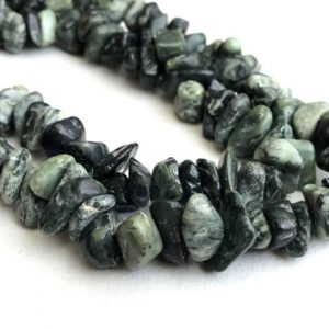 Shop Serpentine Chip & Nugget Beads! 6-10mm Serpentine Chips, Dark Green Serpentine Beads, Natural Serpentine Chip, Serpentine For Necklace, 32 Inch (1Strand To 5Strand Options) | Natural genuine chip Serpentine beads for beading and jewelry making.  #jewelry #beads #beadedjewelry #diyjewelry #jewelrymaking #beadstore #beading #affiliate #ad