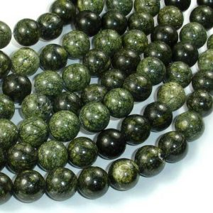 Russian Serpentine Beads, 10mm(10.5mm) Round Beads, 15.5 Inch, Full strand, Approx 38 beads, Hole 1mm (395054001) | Natural genuine round Serpentine beads for beading and jewelry making.  #jewelry #beads #beadedjewelry #diyjewelry #jewelrymaking #beadstore #beading #affiliate #ad