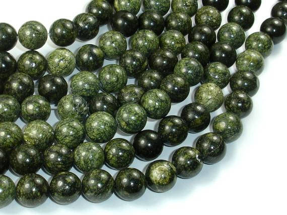 Russian Serpentine Beads, 10mm(10.5mm) Round Beads, 15.5 Inch, Full Strand, Approx 38 Beads, Hole 1mm (395054001)