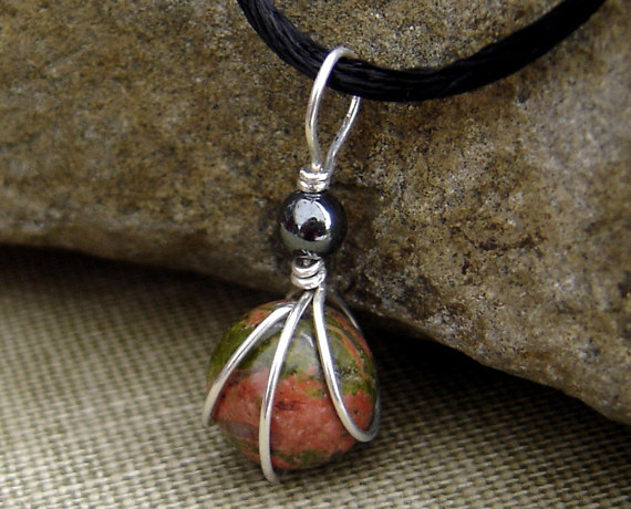 Small Unakite Stone Pendant, Sterling Silver Wire Wrapped With Hematite Stone Jewelry, Unakite Necklace, Granite Jewelry, Unakite Jewelry