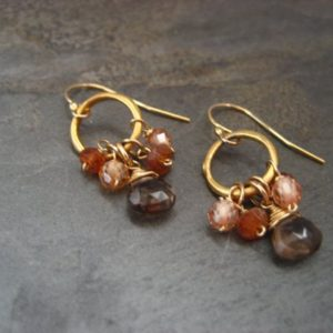 Shop Smoky Quartz Jewelry! Petite Hoop Earrings With Smokey Quartz, Hessonite And Champagne Cz – Vermeil And Gold Filled | Natural genuine Smoky Quartz jewelry. Buy crystal jewelry, handmade handcrafted artisan jewelry for women.  Unique handmade gift ideas. #jewelry #beadedjewelry #beadedjewelry #gift #shopping #handmadejewelry #fashion #style #product #jewelry #affiliate #ad