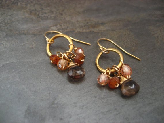 Petite Hoop Earrings With Smokey Quartz, Hessonite And Champagne Cz - Vermeil And Gold Filled