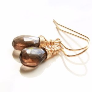 Shop Smoky Quartz Earrings! Smokey Quartz Gold Filled Sterling Silver Earrings wire wrapped brown gemstone simple minimalist dangle drops holiday gift for her 4873 | Natural genuine Smoky Quartz earrings. Buy crystal jewelry, handmade handcrafted artisan jewelry for women.  Unique handmade gift ideas. #jewelry #beadedearrings #beadedjewelry #gift #shopping #handmadejewelry #fashion #style #product #earrings #affiliate #ad