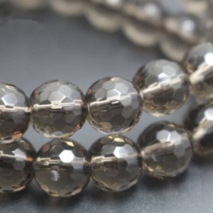Shop Smoky Quartz Faceted Beads! Natural 128 Faceted Smoky Quartz Round Beads, 4mm / 6mm / 8mm / 10mm / 12mm Beads Supply15 Inches One Starand | Natural genuine faceted Smoky Quartz beads for beading and jewelry making.  #jewelry #beads #beadedjewelry #diyjewelry #jewelrymaking #beadstore #beading #affiliate #ad